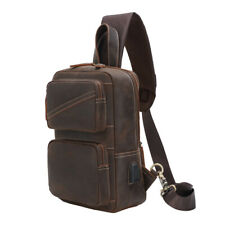 Mens Leather Sling Bag Chest Pack Shoulder Backpack Crossbody Bag Sport Bag TOTE