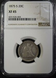 "1875-S Liberty Seated Twenty Cent Piece ""NGC XF45"" *Free S/H After 1st Item*"