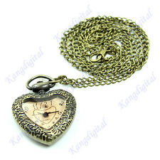 Vintage Unique Love Heart Faceted Glass Carved Pocket Watch Charm Necklace Gift
