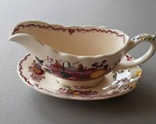 Mason's Fruit Basket - Red Multicolor - Gravy Boat and Under Plate or Relish