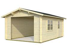 Garage Roger 11 / Garage 2 Gartenhaus Holzgarage 470x570 cm 44 mm ohne Tor