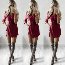 Women Lady Summer Long Sleeve Beauty Blouse Loose Tops T Shirt Mini Dress Tunic