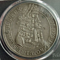 """1699, Emperor Leopold I """"the Hogmouth"""". Large Silver Thaler Coin. PCGS XF-45!"""