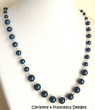 DARK BLUE NAVY GLASS PEARL Link Chain Necklace + Necklace Extender - Mothers Day