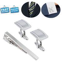 Xmas Gift Silver Mens Business Wedding Shirt Cufflinks and Necktie Tie Clip Set