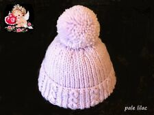 Hand Knitted Newborn Baby Pom Pom - Bobble Hats in Soft Pale Lilac Baby Wool