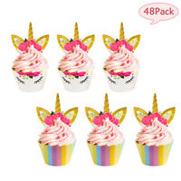 48pcs Unicorn Cupcake Wrapper+Cake Topper Party Cake Decor Birthday Wedding