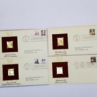 Vintage 4 Gold Stamps First Day Of Issue See Description 1987 1988