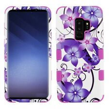 SAMSUNG GALAXY S9 PLUS G965 PURPLE WHITE FLOWER TUFF 3-PIECE CASE IMPACT COVER