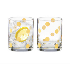 Kate Spade Pearl Place Gold Dot Double Old Fashioned Cocktail Glasses Set 2 Nib