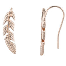 Lux Accessories Rose GoldTone Boho Casted Feather Creeper Ear Cuff Ear Threader