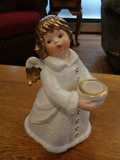 Goebel Angel Figurine Statue W Germany Frobek 42 329 22 White Gold Candleholder