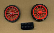 Lego-- 2 Große Speichenräder Rot -- für z.B. Oldtimer-- 43mm -Mit Achsstein -