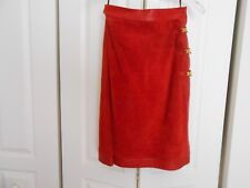 GUCCI--MADE IN ITALY--RUST/ORANGE SUEDE AND LEATHER WRAP SKIRT--44