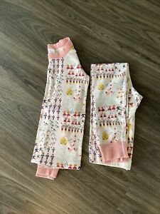 HANNA ANDERSSON GIRLS 12 DAYS OF CHRISTMAS TWO PIECE LONG PAJAMAS SIZE 120 6/7