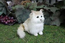 Tan Brown Sitting Cat Kitty Adorable Furry Animal Taxidermy Figurine Decor SM
