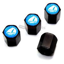 (4) Plymouth Blue Logo Black Tire/Wheel Air Pressure Stem Valve CAPS Covers