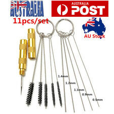 11PCs Airbrush Spray Gun Nozzle Cleaning Repair Tool Kit Needle & Brush Set AU
