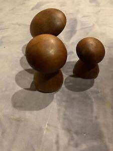 Vintage Wood Myrtle Wood Carved Mushrooms Oregon US Set Stylized Sculpture