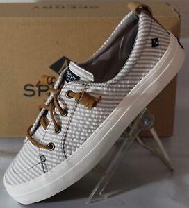 SPERRY Crest Vibe Seersucker Women's Sip On Sneaker, Grey, STS84909