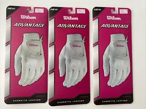 3x Wilson Advantage White Leather Women's Small Golf Glove Left Hand S New Lot