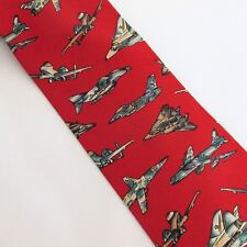 Pagliano Silk Tie Red Print Military Aircraft Camouflage Planes Novelty Necktie