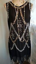 Vtg 1920,s style Downton Gatsby black silver beaded flapper dress size 10
