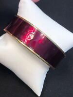 Vintage Monet Signed Gold Tone Candy Apple Red Bangle Bracelet 3/4 Inch Wide