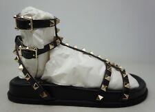 valentino Garavani Black Rockstud Flatform Sandal Size 37