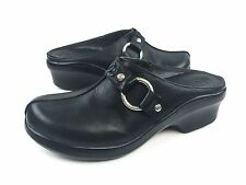Ariat Shasta Womens 8.5B Black Leather Harness Ring Slip on Mules Clogs Shoes