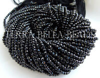 """13"""" strand AAA black SPINEL faceted gem stone rondelle beads 3mm - 3.5mm"""