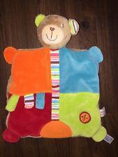 Baby Fehn Schmusetuch Kuscheltuch Schnuffeltuch Teddybär Bunt Braun Knopf Orange