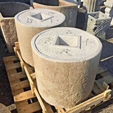 Japanese garden granite antique millstone 4 word coin basin lantern zen water