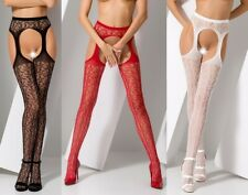 Net/Lace Suspender Tights, Stockings W/Attached Suspenders, Crotchless, Open