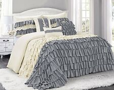 @homechoice 7 Piece BRISE Double Color Ruffled Comforter Set King Grey/Ivory