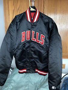 Vintage Chicago Bulls Starter Satin Jacket Bomber Michael Jordan NBA 90s Sz XL