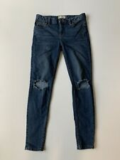 Free People Women's High Rise Busted DarkWash Distressed Skinny Jeans Sz 26