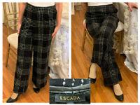ESCADA BLACK  PLAID CHECK WOOL ANGORA  WIDE LEG TROUSERS PANTS 46 14/16