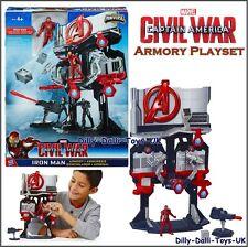 Marvel Iron Man Armory Playset & Figura Avengers Capitan America Miniverse NUOVO