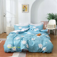 Blue Flower Double/Queen/King/Single Bed Quilt/Doona/Duvet Cover Set 100% Cotton