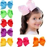 "30 Pcs 6"" Baby Girls Huge Grosgrain Ribbon Boutique Hair Bows Kids Hair Clip"