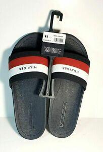 Tommy Hilfiger Men's Earthy Dark Blue and white  Slide Sandal Slipper brand new
