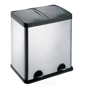 48L Stainless Steel 2 Compartments Large Recycle Foot Pedal Bin Recycling office