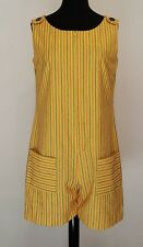 Womens Vintage Embroidered Striped Yellow Lemon Chiffon Zip Up Summer Romper