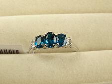 Rare Malagasy Neon Apatite Trilogy & Baguette Diamond Plat/925 Ring Size S/9