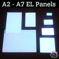 White EL Panel in Many Sizes A6, A5, A4, A3, A2 and A1 - Glow Paper Neon Sheet