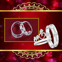 Resizable Sparkling CZ Crystal Crown Couple  925 Sterling Silver Plated Ring