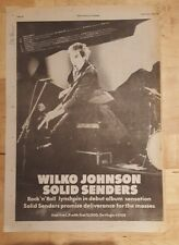 Wilko Johnson Solid Senders  1978 press advert Full page 28 x 39 cm poster
