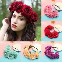 Bridal Headwear Rose Flower Garland Elastic Wreath Headband Wedding Hairband