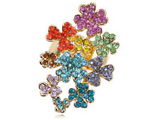 Rainbow Colorful Clustered  Crystal Rhinestone Floral Flower Sized Charm Rings